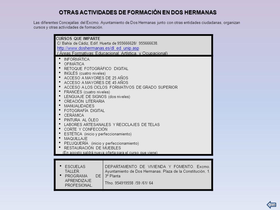 CURSOS QUE IMPARTE C/ Bahía de Cádiz, Edif. Huerta de 955666628/ 955666638. http://www.doshermanas.es/dl_ed_unip.asp ( Áreas Formativas: Educacional,