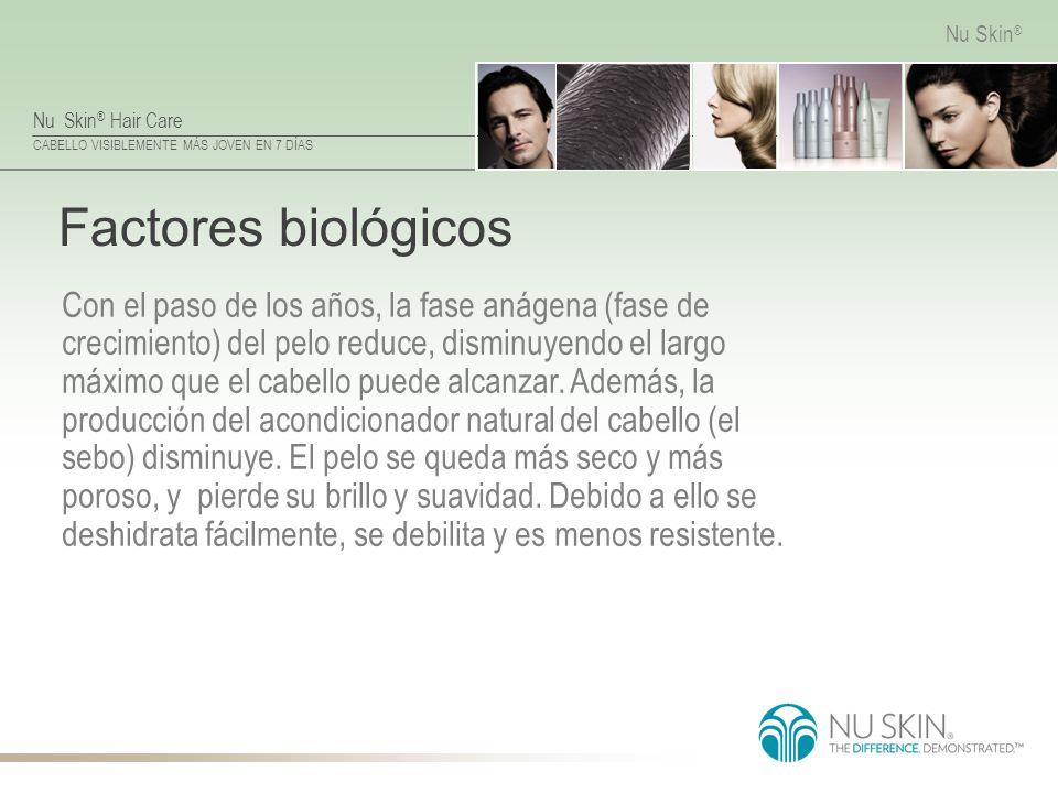Nu Skin ® Hair Care CABELLO VISIBLEMENTE MÁS JOVEN EN 7 DÍAS Nu Skin ® Factores biológicos Con el paso de los años, la fase anágena (fase de crecimien