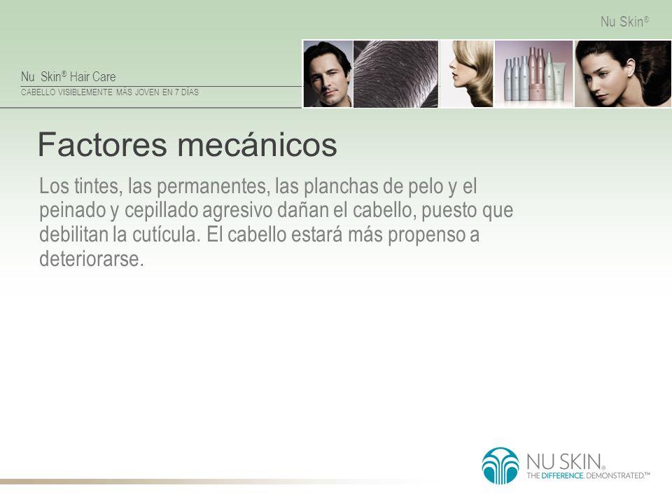Nu Skin ® Hair Care CABELLO VISIBLEMENTE MÁS JOVEN EN 7 DÍAS Nu Skin ® Factores mecánicos Los tintes, las permanentes, las planchas de pelo y el peina