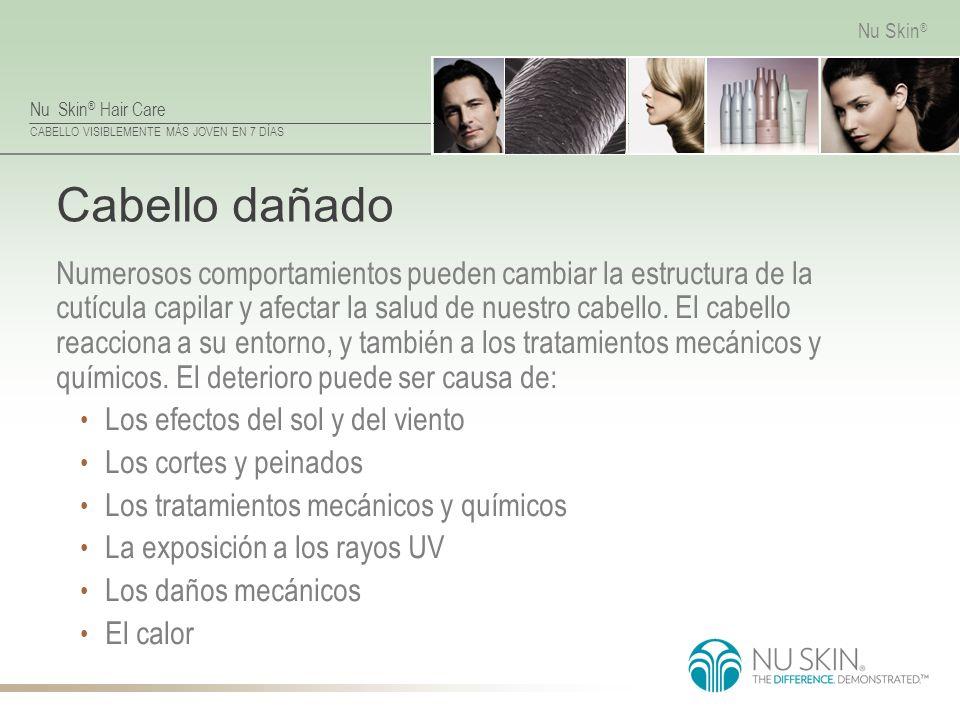 Nu Skin ® Hair Care CABELLO VISIBLEMENTE MÁS JOVEN EN 7 DÍAS Nu Skin ® Cabello dañado Numerosos comportamientos pueden cambiar la estructura de la cut