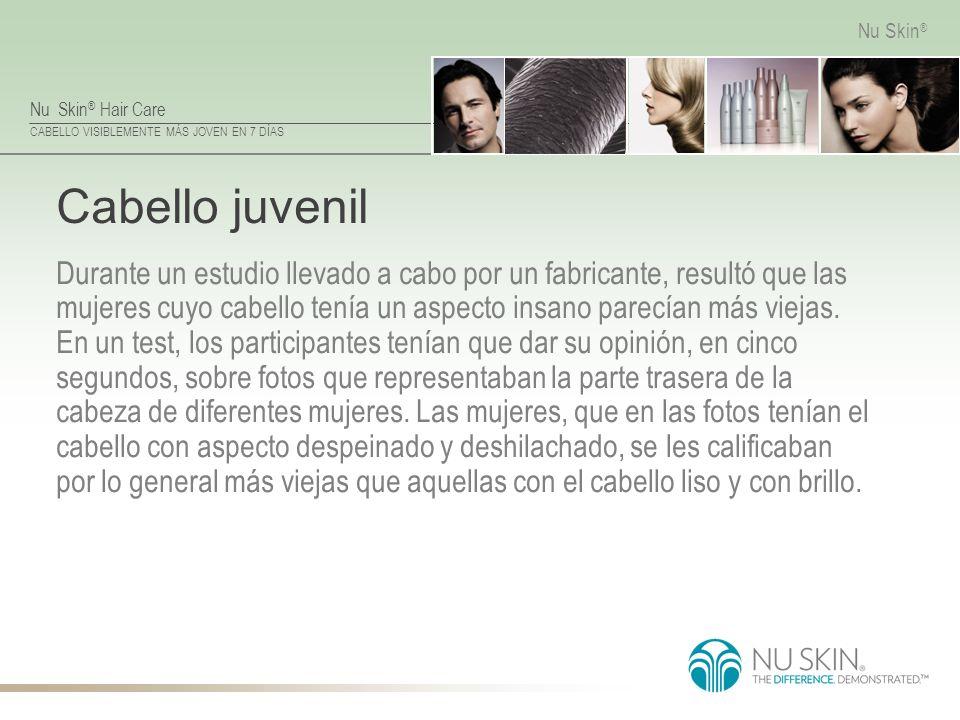 Nu Skin ® Hair Care CABELLO VISIBLEMENTE MÁS JOVEN EN 7 DÍAS Nu Skin ® Cabello juvenil Durante un estudio llevado a cabo por un fabricante, resultó qu