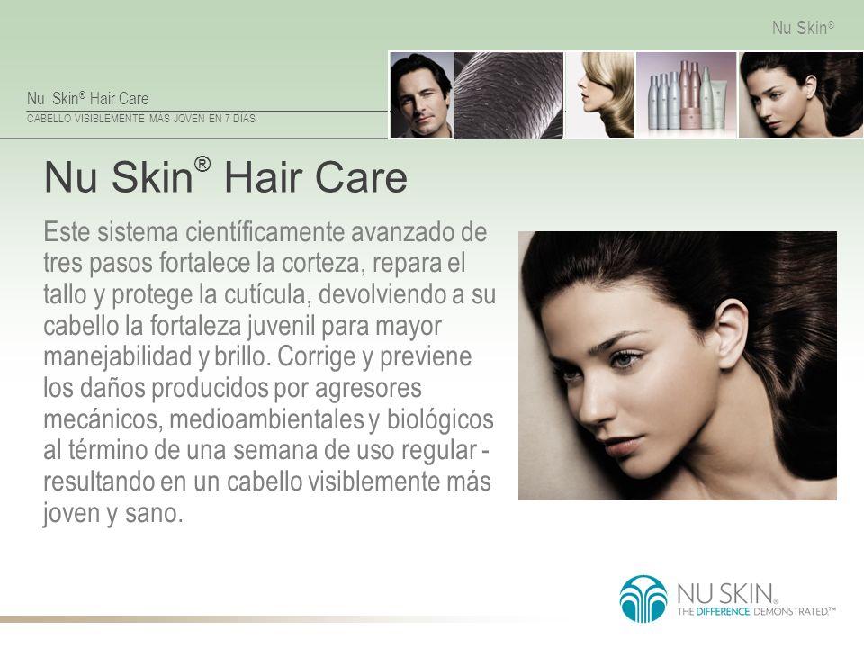 Nu Skin ® Hair Care CABELLO VISIBLEMENTE MÁS JOVEN EN 7 DÍAS Nu Skin ® Nu Skin ® Hair Care Este sistema científicamente avanzado de tres pasos fortale