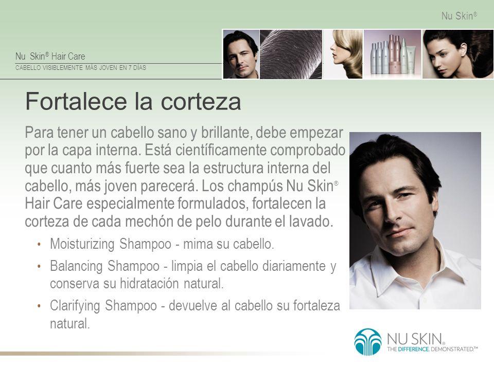Nu Skin ® Hair Care CABELLO VISIBLEMENTE MÁS JOVEN EN 7 DÍAS Nu Skin ® Fortalece la corteza Para tener un cabello sano y brillante, debe empezar por l