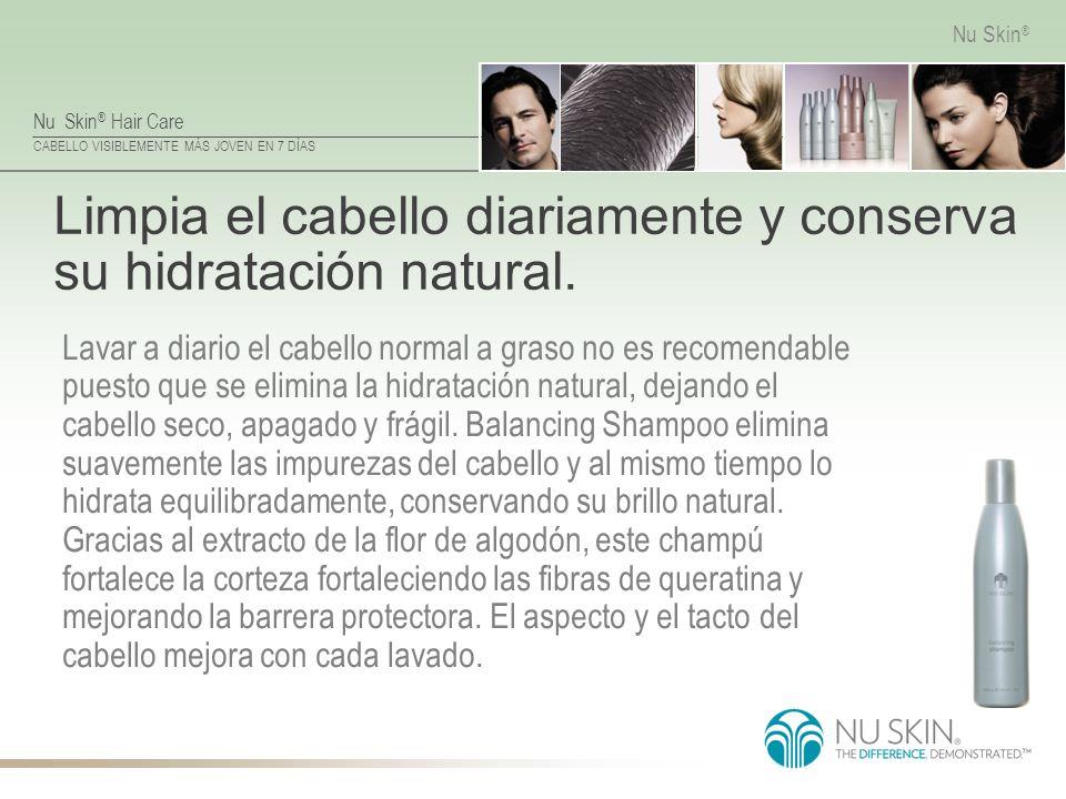 Nu Skin ® Hair Care CABELLO VISIBLEMENTE MÁS JOVEN EN 7 DÍAS Nu Skin ® Limpia el cabello diariamente y conserva su hidratación natural. Lavar a diario
