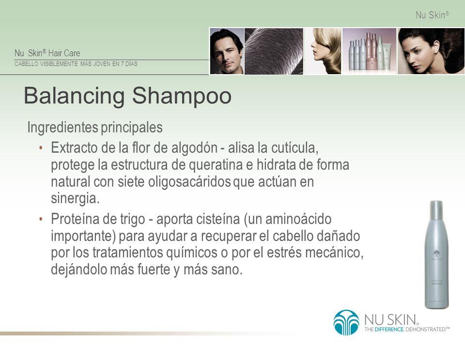 Nu Skin ® Hair Care CABELLO VISIBLEMENTE MÁS JOVEN EN 7 DÍAS Nu Skin ® Balancing Shampoo Ingredientes principales Extracto de la flor de algodón - ali