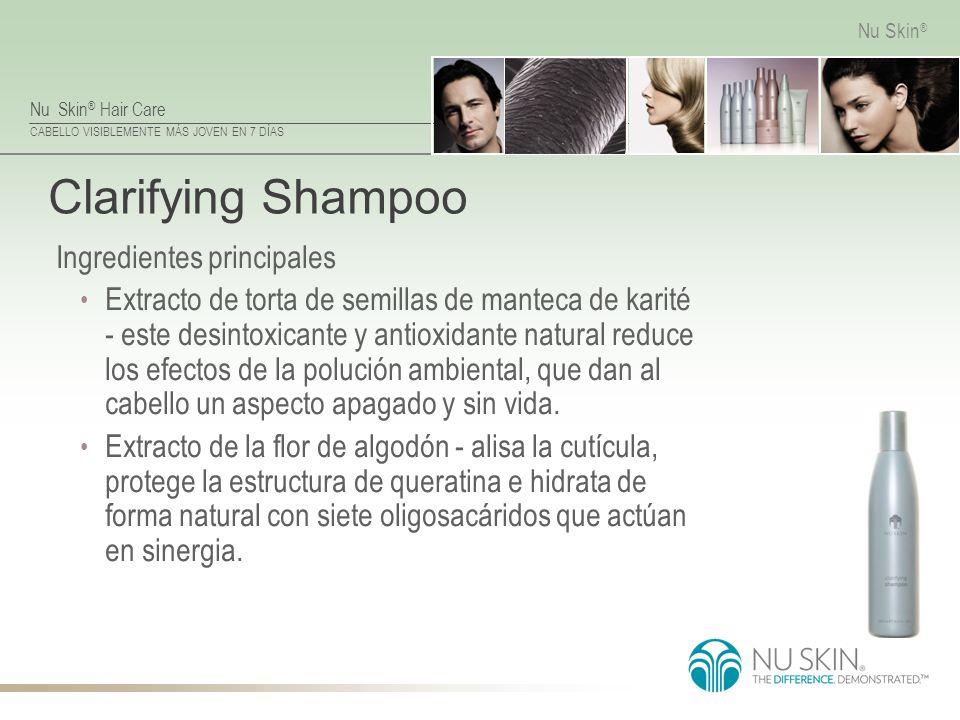 Nu Skin ® Hair Care CABELLO VISIBLEMENTE MÁS JOVEN EN 7 DÍAS Nu Skin ® Clarifying Shampoo Ingredientes principales Extracto de torta de semillas de ma