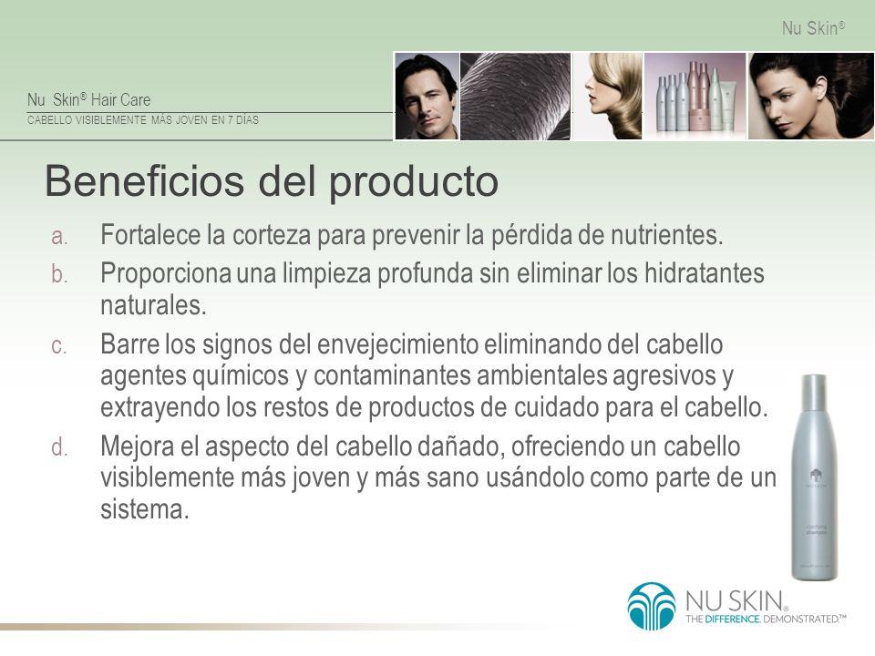 Nu Skin ® Hair Care CABELLO VISIBLEMENTE MÁS JOVEN EN 7 DÍAS Nu Skin ® Beneficios del producto a. Fortalece la corteza para prevenir la pérdida de nut