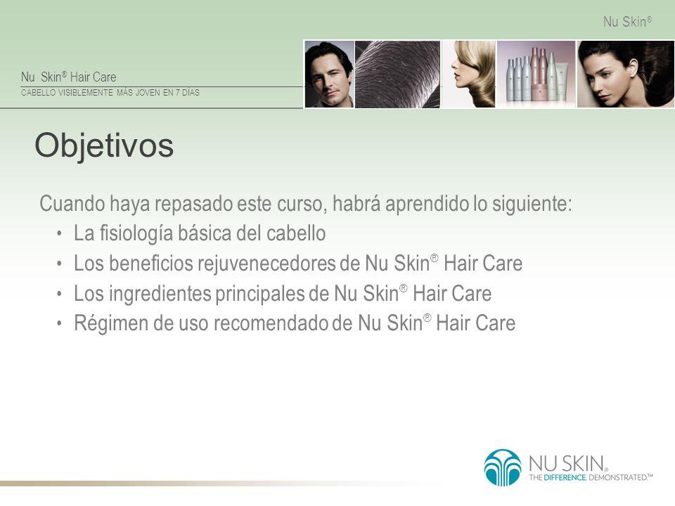 Nu Skin ® Hair Care CABELLO VISIBLEMENTE MÁS JOVEN EN 7 DÍAS Nu Skin ® Objetivos Cuando haya repasado este curso, habrá aprendido lo siguiente: La fis