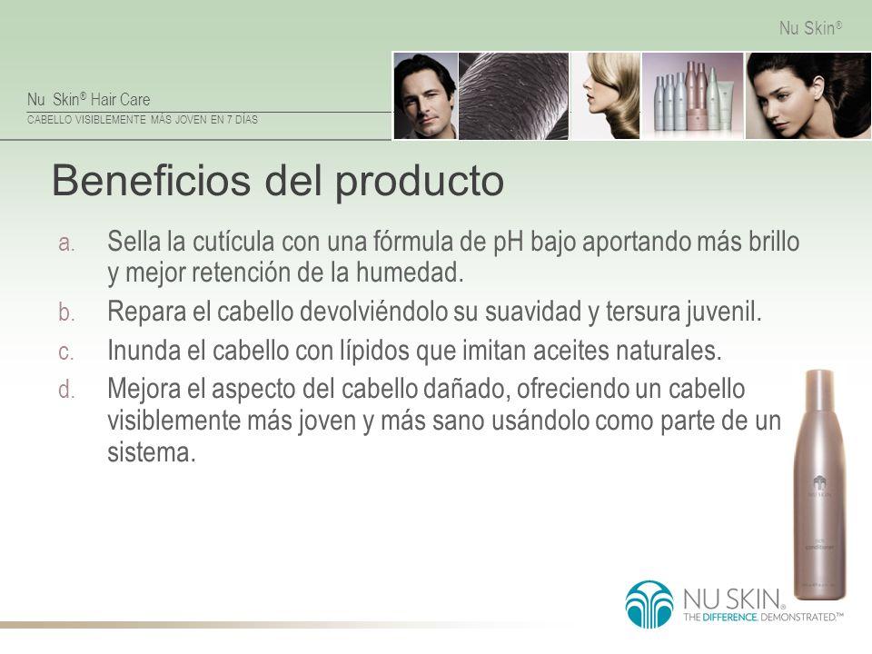 Nu Skin ® Hair Care CABELLO VISIBLEMENTE MÁS JOVEN EN 7 DÍAS Nu Skin ® Beneficios del producto a. Sella la cutícula con una fórmula de pH bajo aportan