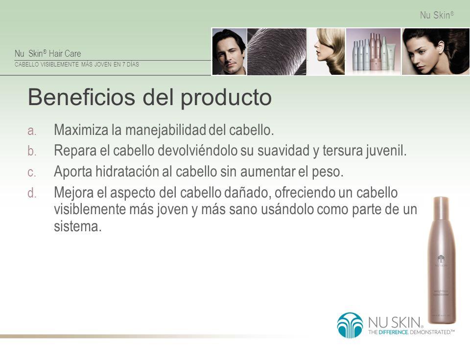 Nu Skin ® Hair Care CABELLO VISIBLEMENTE MÁS JOVEN EN 7 DÍAS Nu Skin ® Beneficios del producto a. Maximiza la manejabilidad del cabello. b. Repara el