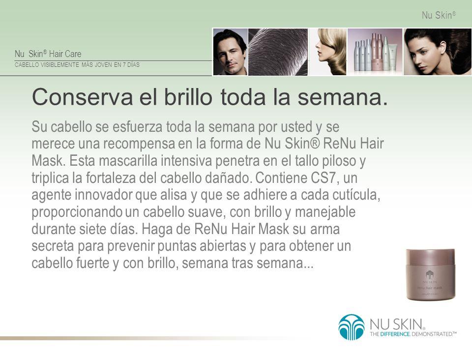 Nu Skin ® Hair Care CABELLO VISIBLEMENTE MÁS JOVEN EN 7 DÍAS Nu Skin ® Conserva el brillo toda la semana. Su cabello se esfuerza toda la semana por us
