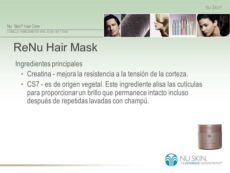 Nu Skin ® Hair Care CABELLO VISIBLEMENTE MÁS JOVEN EN 7 DÍAS Nu Skin ® ReNu Hair Mask Ingredientes principales Creatina - mejora la resistencia a la t