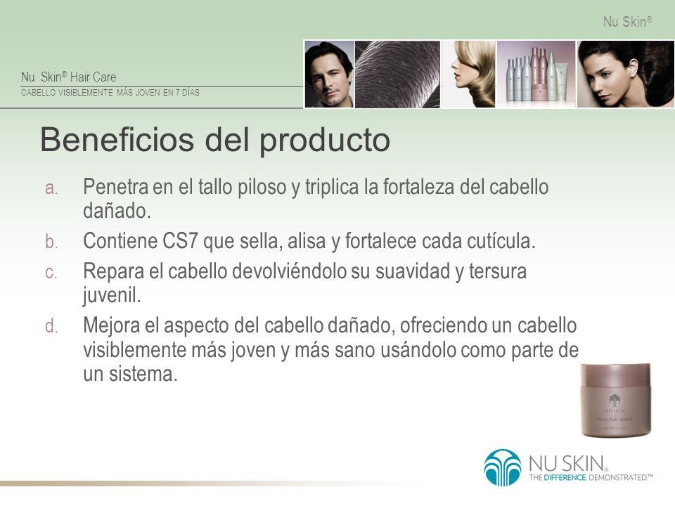Nu Skin ® Hair Care CABELLO VISIBLEMENTE MÁS JOVEN EN 7 DÍAS Nu Skin ® Beneficios del producto a. Penetra en el tallo piloso y triplica la fortaleza d