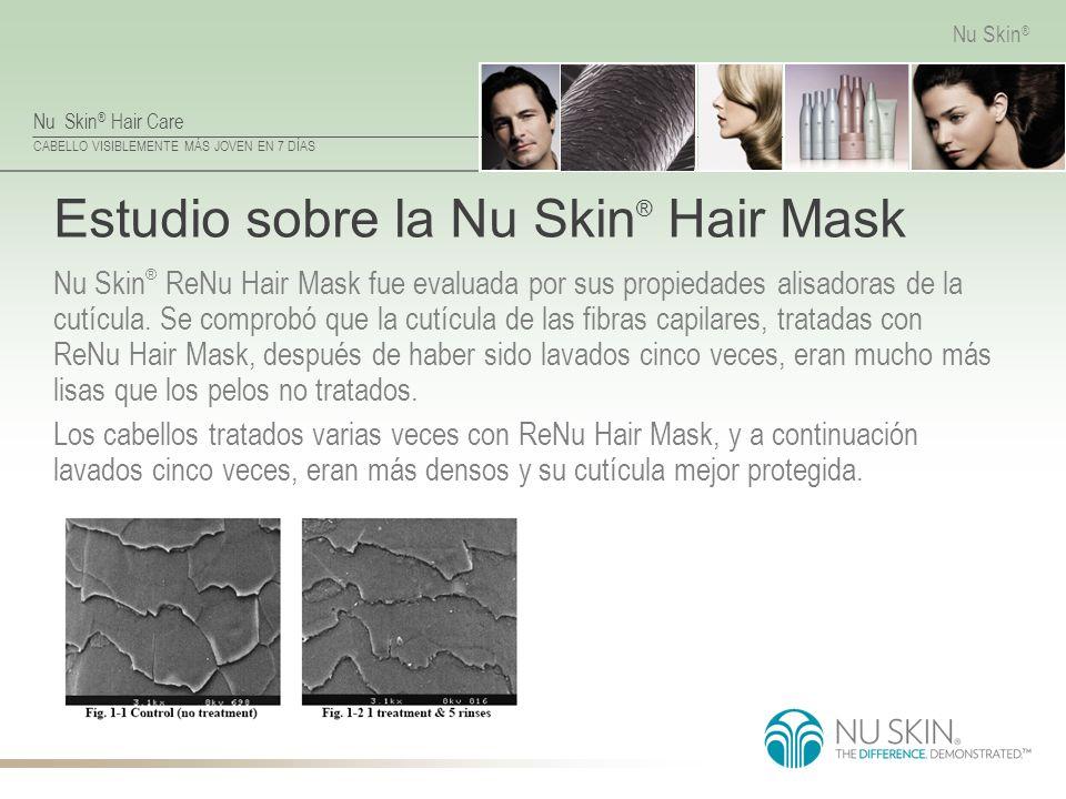 Nu Skin ® Hair Care CABELLO VISIBLEMENTE MÁS JOVEN EN 7 DÍAS Nu Skin ® Estudio sobre la Nu Skin ® Hair Mask Nu Skin ® ReNu Hair Mask fue evaluada por