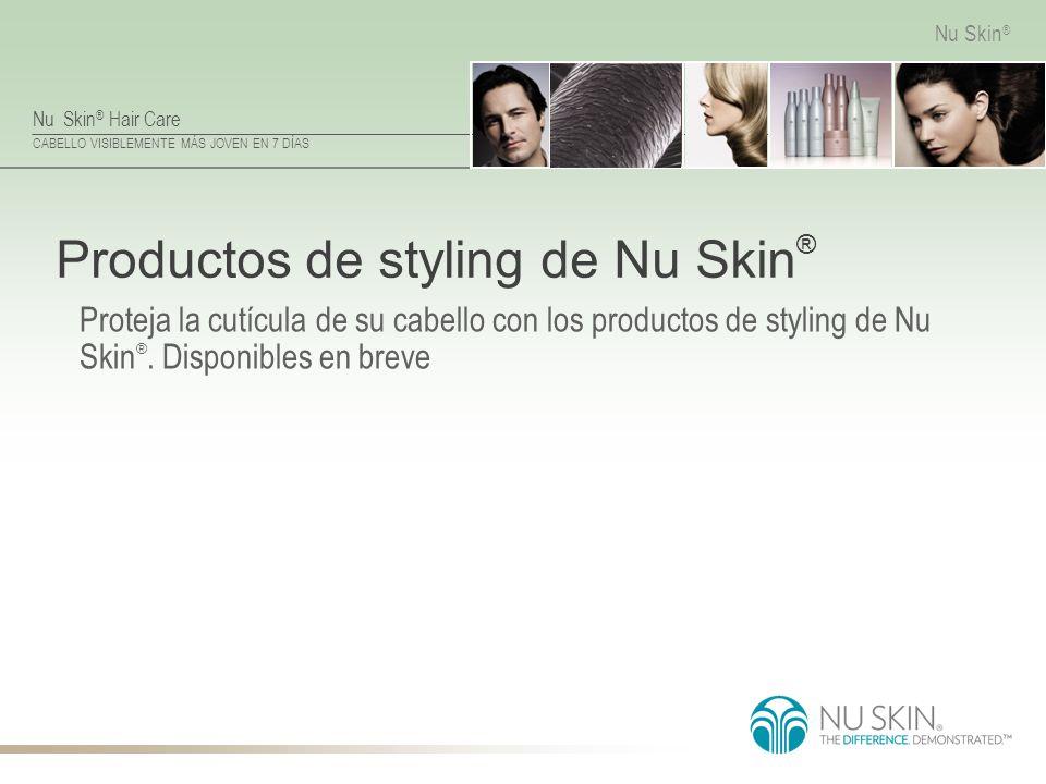 Nu Skin ® Hair Care CABELLO VISIBLEMENTE MÁS JOVEN EN 7 DÍAS Nu Skin ® Productos de styling de Nu Skin ® Proteja la cutícula de su cabello con los pro
