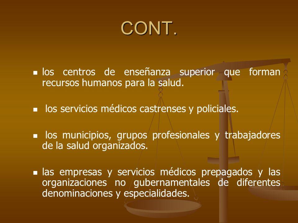 CONT.los centros de enseñanza superior que forman recursos humanos para la salud.