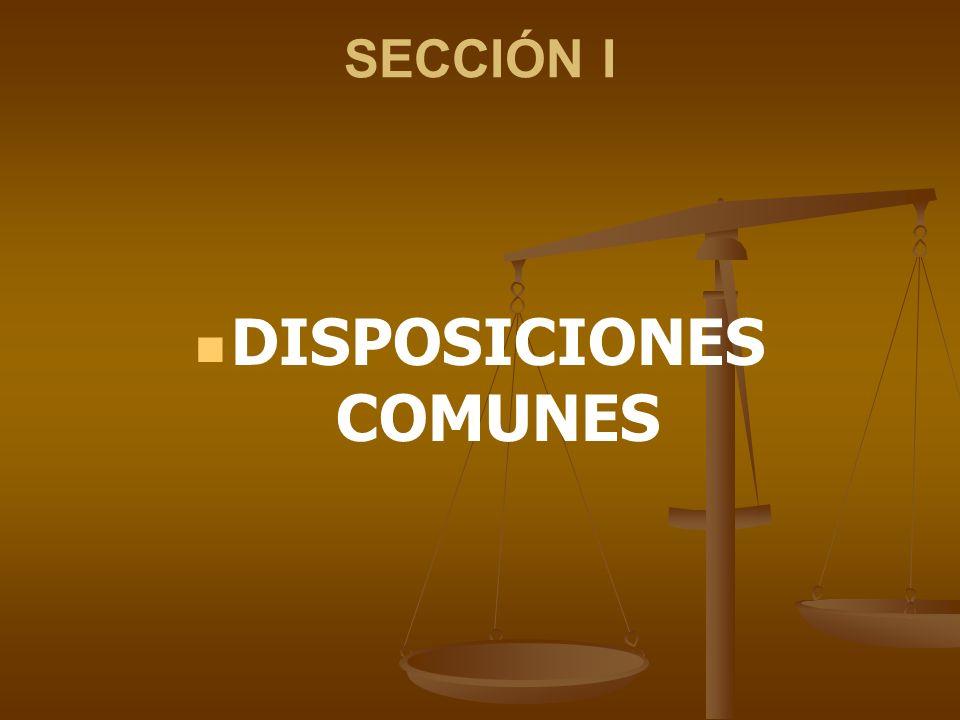 SECCIÓN I DISPOSICIONES COMUNES