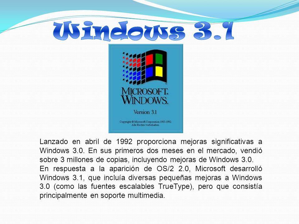Lanzado en abril de 1992 proporciona mejoras significativas a Windows 3.0.