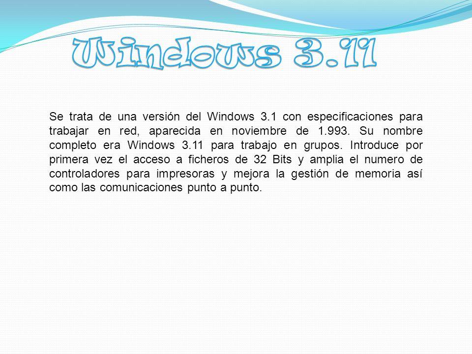 Se trata de una versión del Windows 3.1 con especificaciones para trabajar en red, aparecida en noviembre de 1.993.