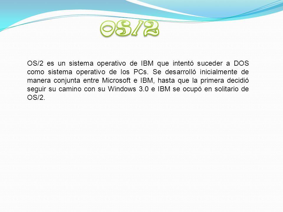 OS/2 es un sistema operativo de IBM que intentó suceder a DOS como sistema operativo de los PCs.