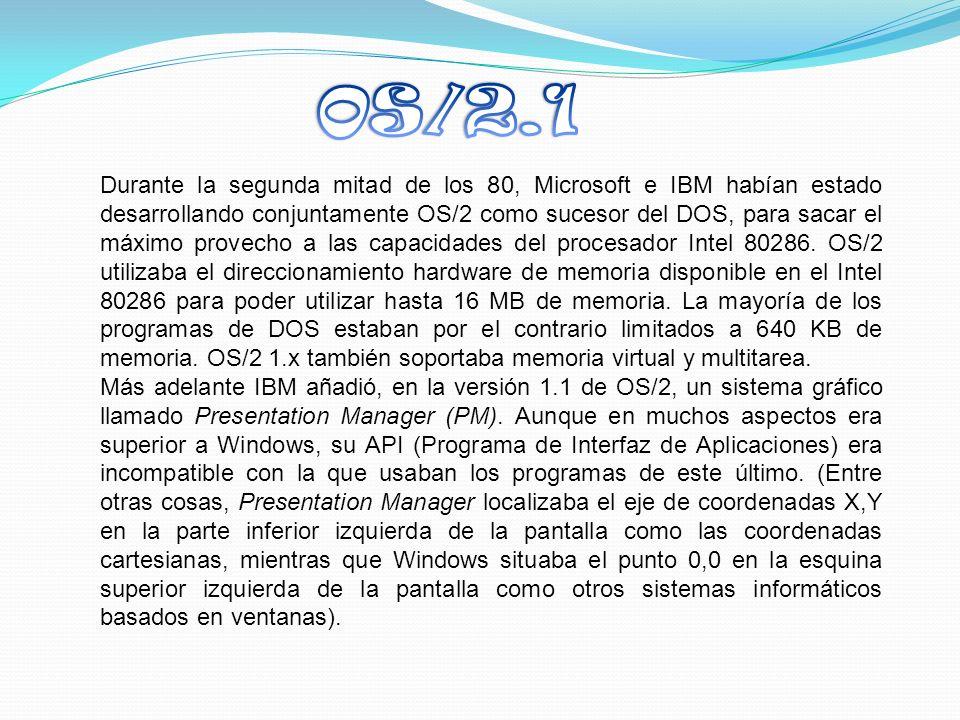 Durante la segunda mitad de los 80, Microsoft e IBM habían estado desarrollando conjuntamente OS/2 como sucesor del DOS, para sacar el máximo provecho a las capacidades del procesador Intel 80286.