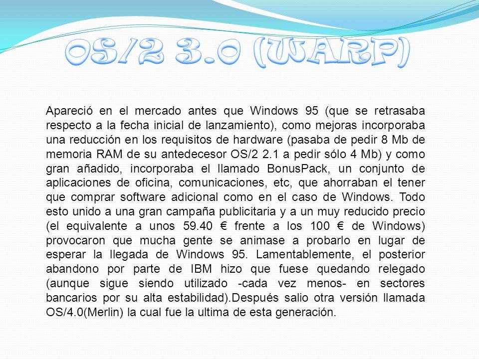 Apareció en el mercado antes que Windows 95 (que se retrasaba respecto a la fecha inicial de lanzamiento), como mejoras incorporaba una reducción en los requisitos de hardware (pasaba de pedir 8 Mb de memoria RAM de su antedecesor OS/2 2.1 a pedir sólo 4 Mb) y como gran añadido, incorporaba el llamado BonusPack, un conjunto de aplicaciones de oficina, comunicaciones, etc, que ahorraban el tener que comprar software adicional como en el caso de Windows.