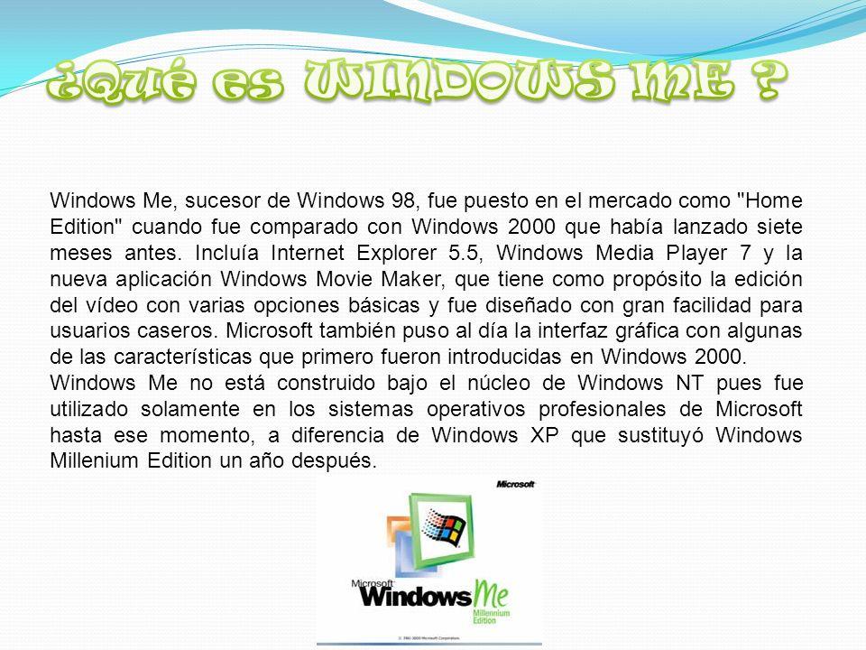 Windows Me, sucesor de Windows 98, fue puesto en el mercado como Home Edition cuando fue comparado con Windows 2000 que había lanzado siete meses antes.