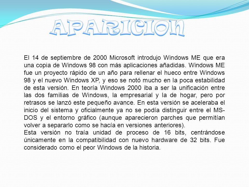 El 14 de septiembre de 2000 Microsoft introdujo Windows ME que era una copia de Windows 98 con más aplicaciones añadidas.