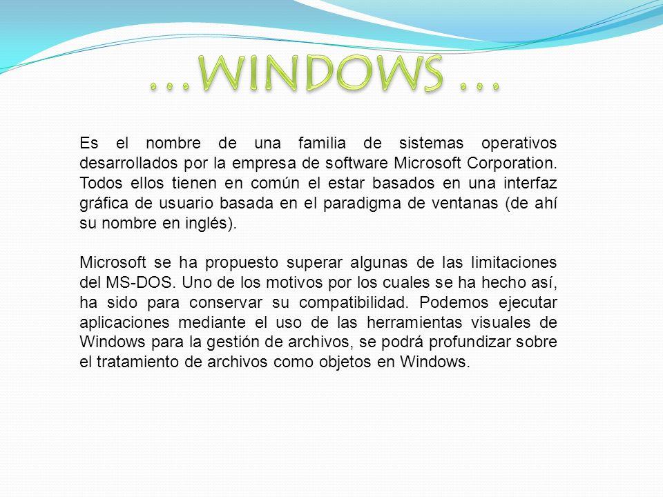 Es el nombre de una familia de sistemas operativos desarrollados por la empresa de software Microsoft Corporation.