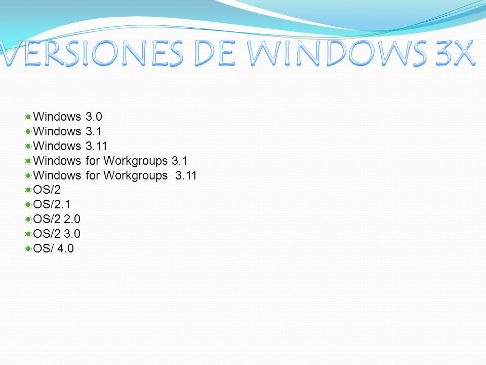 Windows 3.0 Windows 3.1 Windows 3.11 Windows for Workgroups 3.1 Windows for Workgroups 3.11 OS/2 OS/2.1 OS/2 2.0 OS/2 3.0 OS/ 4.0