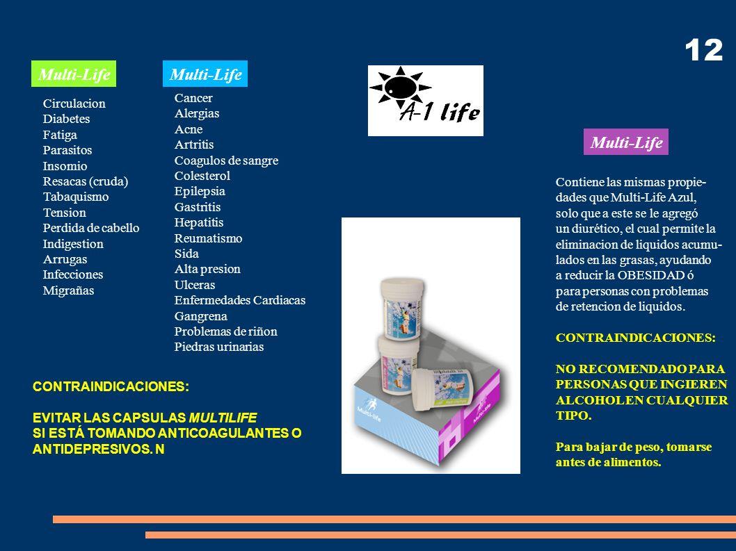Multi-Life Circulacion Diabetes Fatiga Parasitos Insomio Resacas (cruda) Tabaquismo Tension Perdida de cabello Indigestion Arrugas Infecciones Migraña