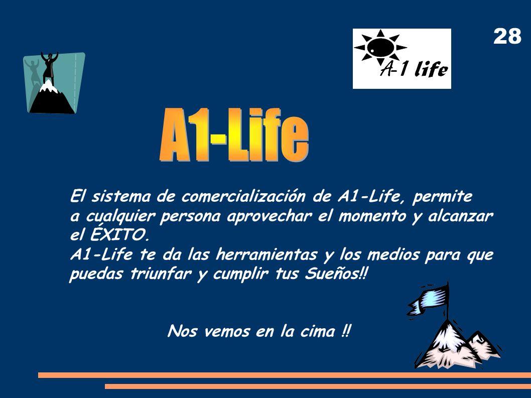 28 El sistema de comercialización de A1-Life, permite a cualquier persona aprovechar el momento y alcanzar el ÉXITO. A1-Life te da las herramientas y
