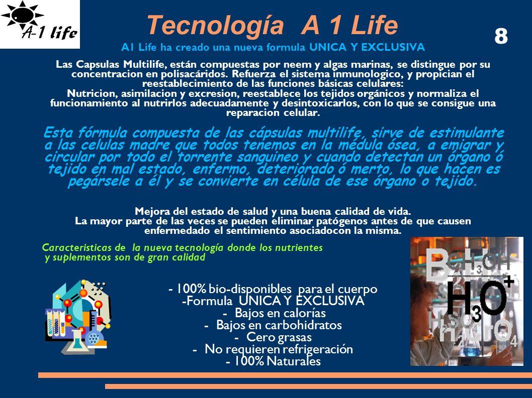 Tecnología A 1 Life A1 Life ha creado una nueva formula UNICA Y EXCLUSIVA Las Capsulas Multilife, están compuestas por neem y algas marinas, se distin