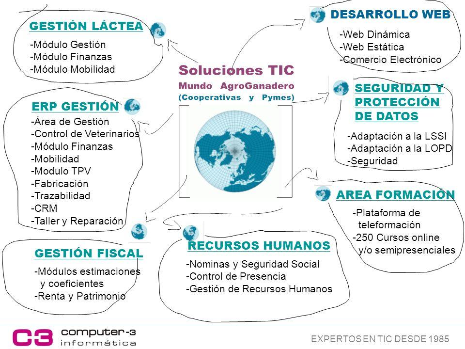 ERP GESTIÓN -Área de Gestión -Control de Veterinarios -Módulo Finanzas -Mobilidad -Modulo TPV -Fabricación -Trazabilidad -CRM -Taller y Reparación -Módulos estimaciones y coeficientes -Renta y Patrimonio -Nominas y Seguridad Social -Control de Presencia -Gestión de Recursos Humanos AREA FORMACIÓN -Plataforma de teleformación -250 Cursos online y/o semipresenciales SEGURIDAD Y PROTECCIÓN DE DATOS -Adaptación a la LSSI -Adaptación a la LOPD -Seguridad GESTIÓN LÁCTEA -Módulo Gestión -Módulo Finanzas -Módulo Mobilidad -Web Dinámica -Web Estática -Comercio Electrónico RECURSOS HUMANOS GESTIÓN FISCAL EXPERTOS EN TIC DESDE 1985 DESARROLLO WEB