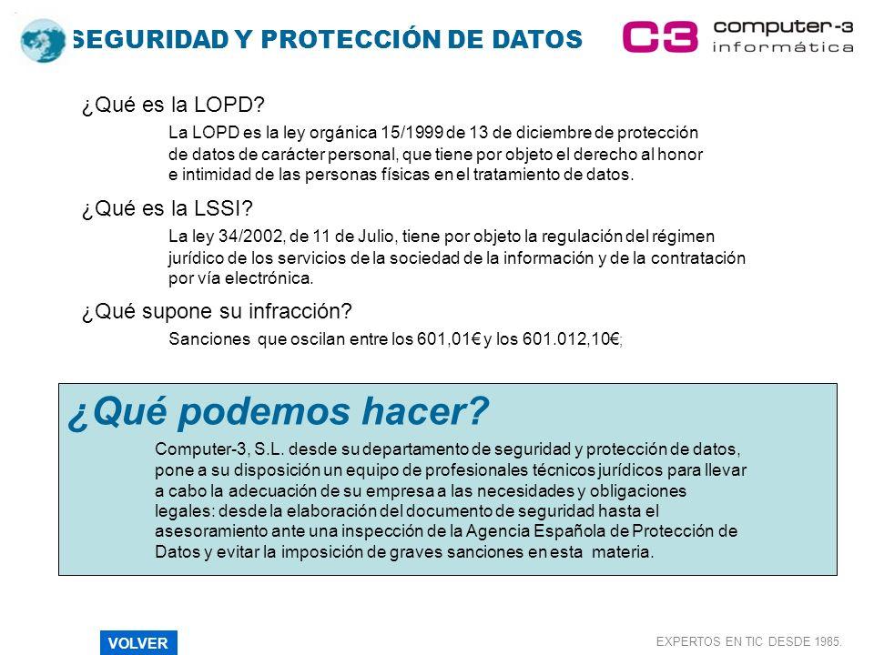 SEGURIDAD Y PROTECCIÓN DE DATOS EXPERTOS EN TIC DESDE 1985. ¿Qué es la LOPD? La LOPD es la ley orgánica 15/1999 de 13 de diciembre de protección de da