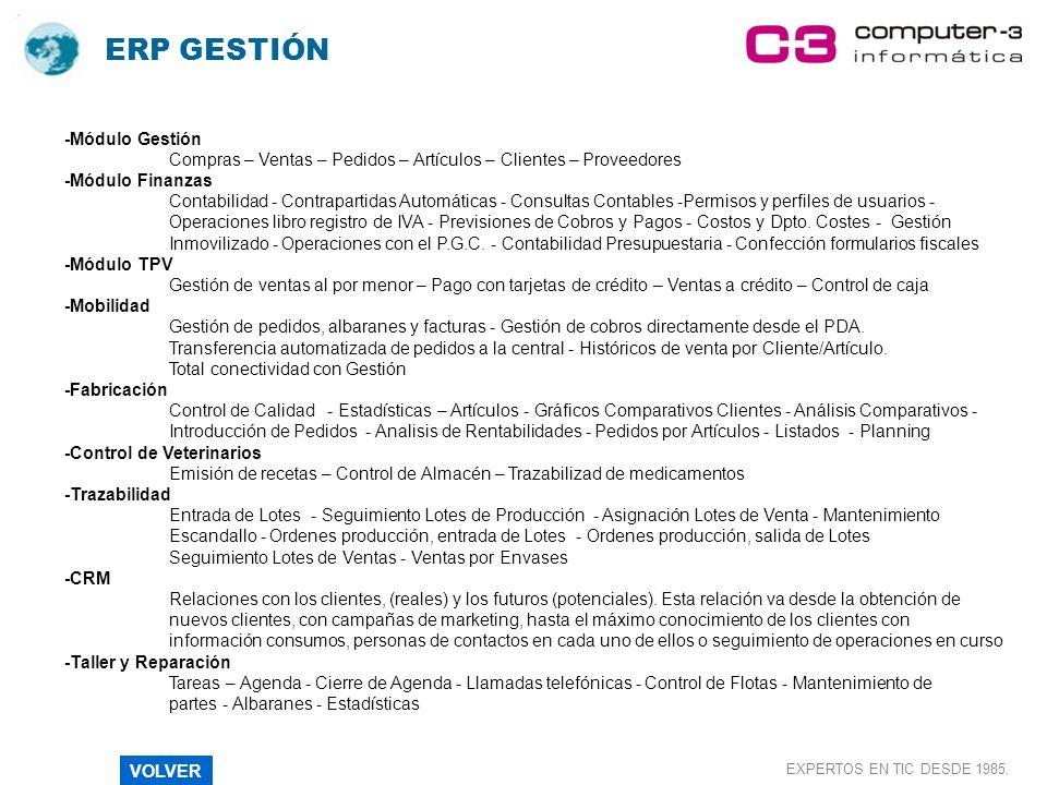 ERP GESTIÓN -Módulo Gestión Compras – Ventas – Pedidos – Artículos – Clientes – Proveedores -Módulo Finanzas Contabilidad - Contrapartidas Automáticas