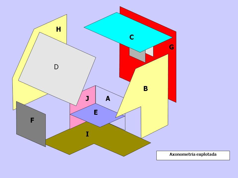 Axonometría explotada B G C D H E AJ I F