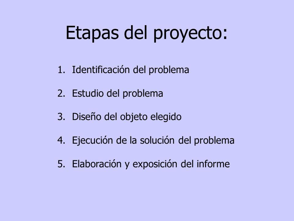 Etapas del proyecto: 1.Identificación del problema 2.Estudio del problema 3.Diseño del objeto elegido 4.Ejecución de la solución del problema 5.Elabor