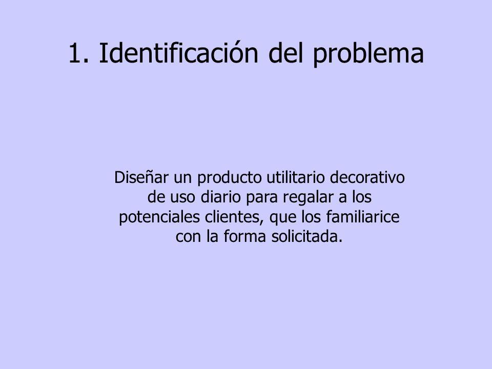 1. Identificación del problema Diseñar un producto utilitario decorativo de uso diario para regalar a los potenciales clientes, que los familiarice co