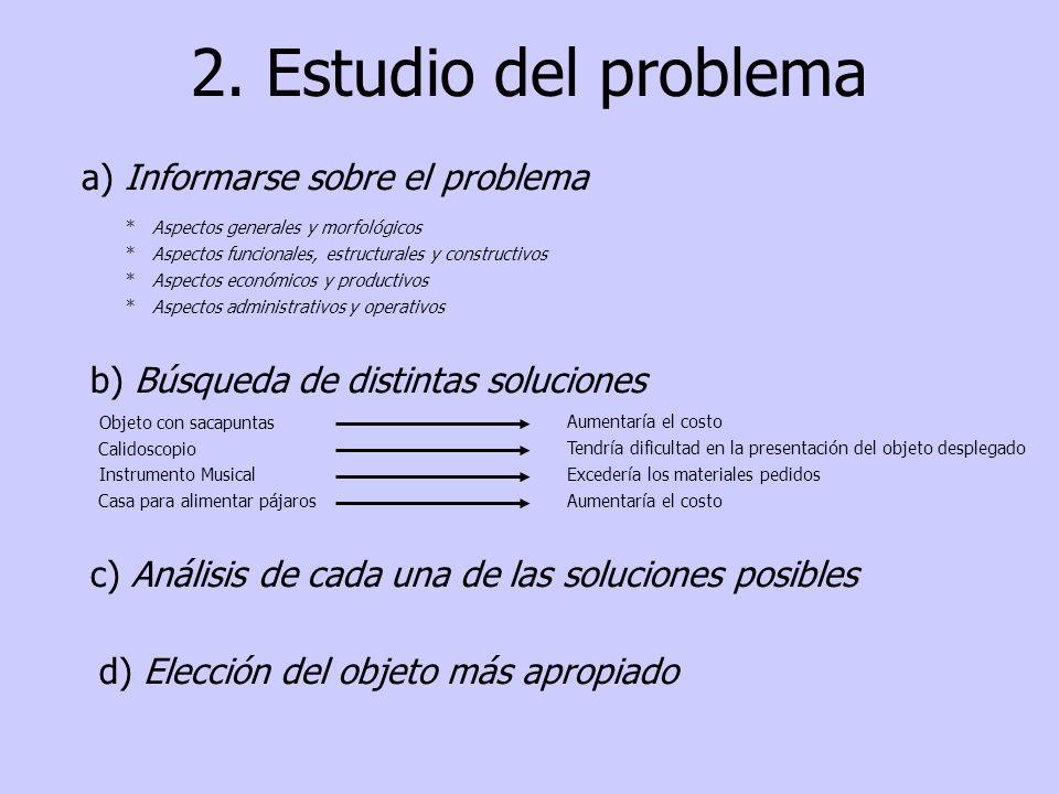2. Estudio del problema a) Informarse sobre el problema * Aspectos funcionales, estructurales y constructivos * Aspectos generales y morfológicos * As