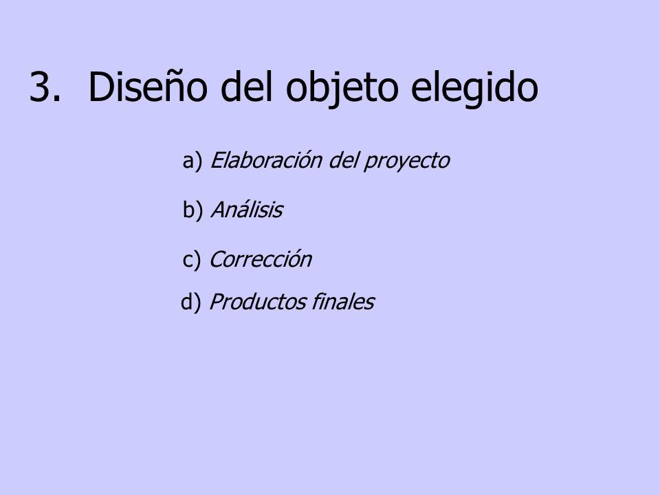 3. Diseño del objeto elegido a) Elaboración del proyecto b) Análisis c) Corrección d) Productos finales