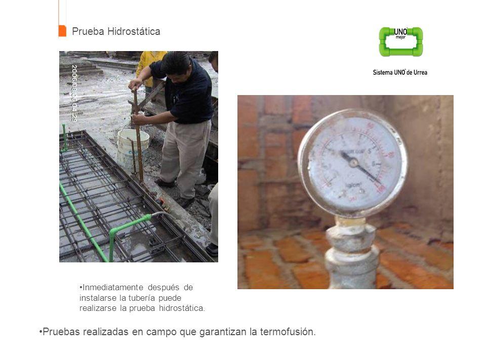 Prueba Hidrostática Pruebas realizadas en campo que garantizan la termofusión. Inmediatamente después de instalarse la tubería puede realizarse la pru