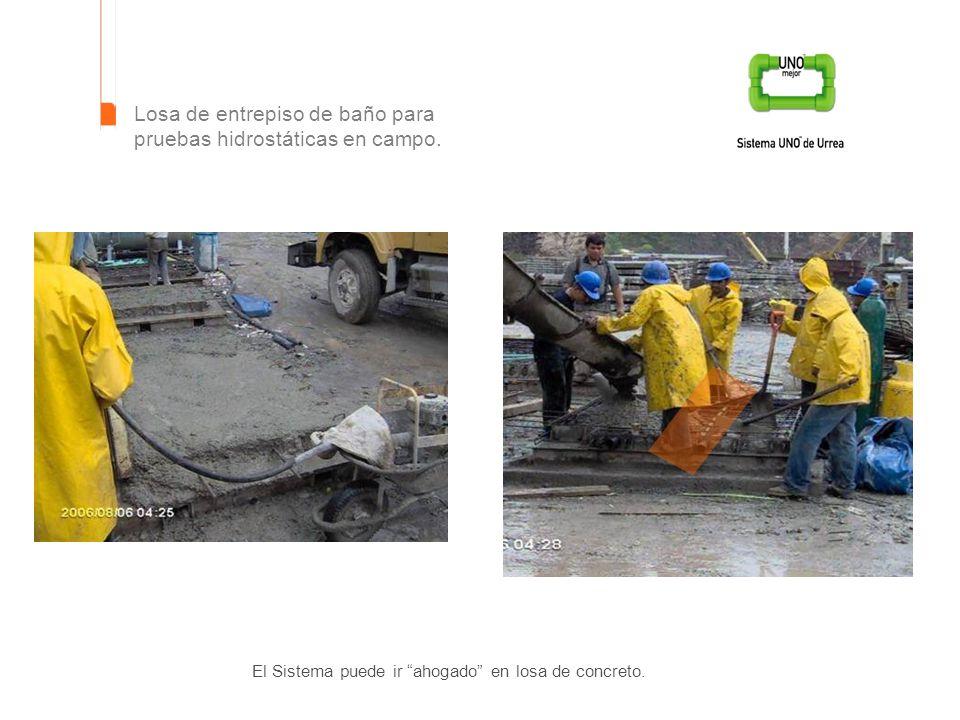 El Sistema puede ir ahogado en losa de concreto. Losa de entrepiso de baño para pruebas hidrostáticas en campo.