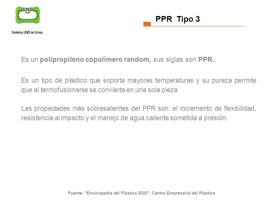 Es un polipropileno copolímero random, sus siglas son PPR. Es un tipo de plástico que soporta mayores temperaturas y su pureza permite que al termofus
