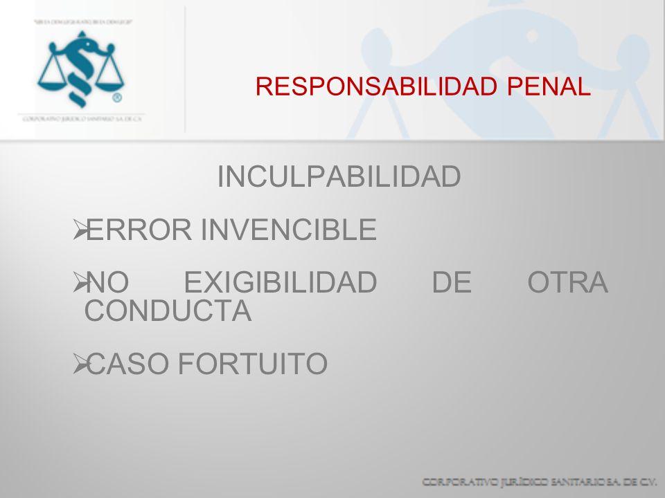 RESPONSABILIDAD PENAL EXCLUYENTES DE RESPONSABILIDAD OBEDECER A UN SUPERIOR JERÁRQUICO CAUSAR UN DAÑO POR MERO ACCIDENTE, SIN INTENCIÓN O IMPRUDENCIA ALGUNA, HABIENDO TOMADO TODAS LAS PRECAUCIONES DEBIDAS.