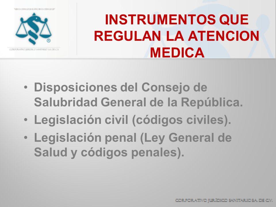 INSTRUMENTOS QUE REGULAN LA ATENCION MEDICA Reglamento de la L.