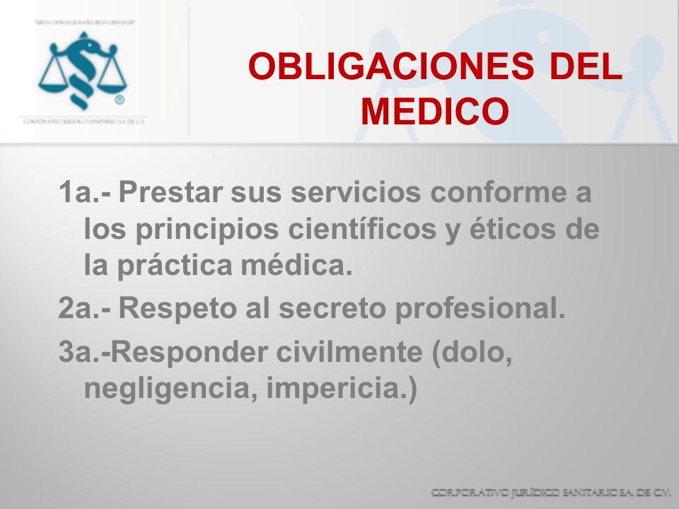 OBLIGACIONES DEL MEDICO 4a.- Prestar sus servicios personalmente.