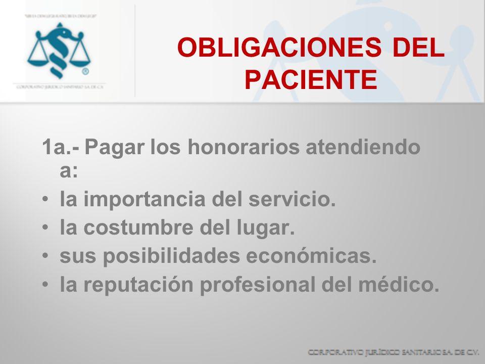 OBLIGACIONES DEL PACIENTE 2a.- Pagar en su caso tarifas de hospitalización.