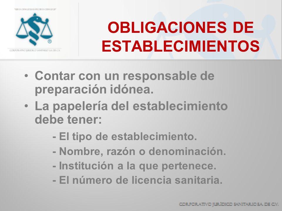 OBLIGACIONES DE ESTABLECIMIENTOS Tener las áreas y espacios necesarios.