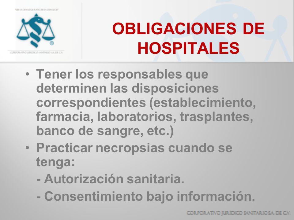 OBLIGACIONES DE HOSPITALES Planificación familiar: sServicios gratuitos de educación sexual.